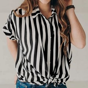 Front tie striped button down shirt